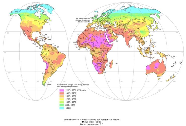 wereldkaart zonnestraling